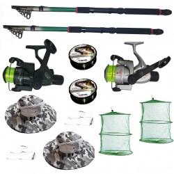 Set pescuit cu 2 lansete de 3m, 2 mulinete, 2 fire Cool Angel juvelnic, palarii, monturi si fir