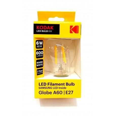 Kodak Bec Led A 60 E 27 600 Lm 6 W Filament Clear/Warm 30419186