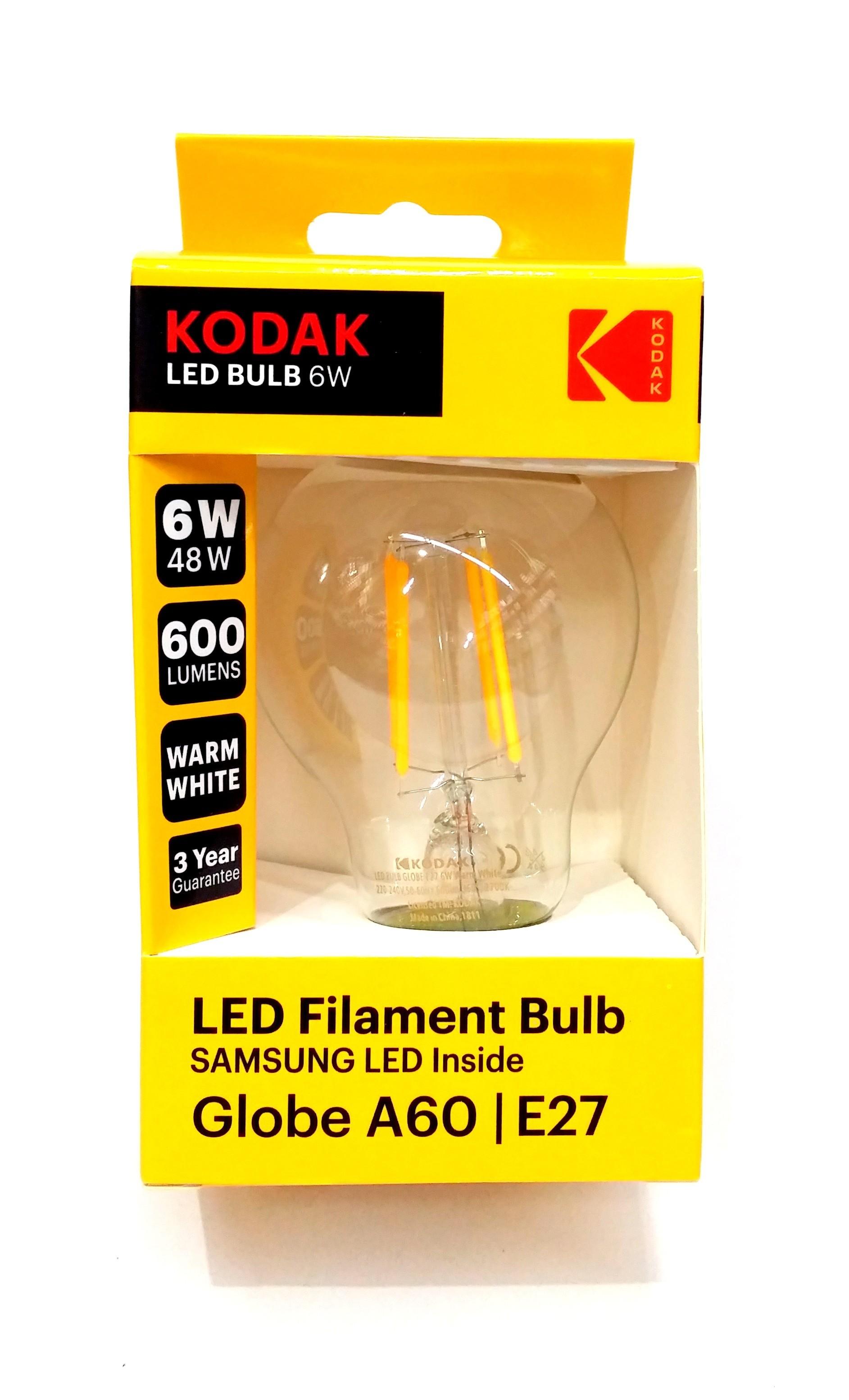 Kodak Bec Led A 60 E 27 600 Lm 6 W Filament Clear/Warm 30419186 imagine techstar.ro 2021