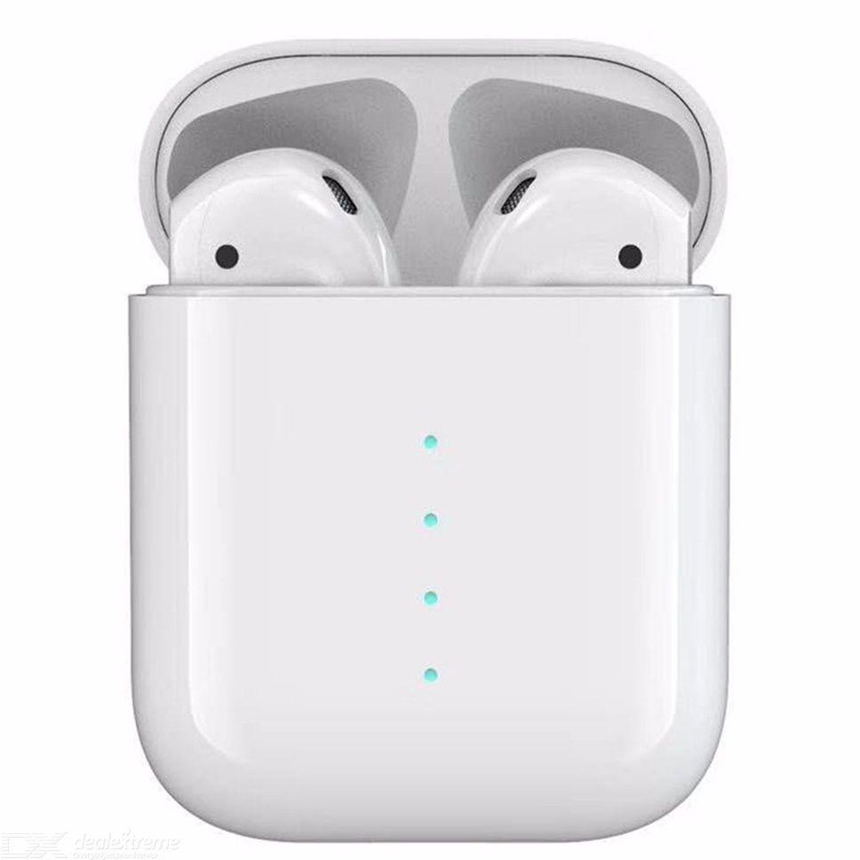 Casti Bluetooth i100 TWS Teschstar®, BT5.0, Wireless, Incarcare QI, Earbuds, Touch, Albe