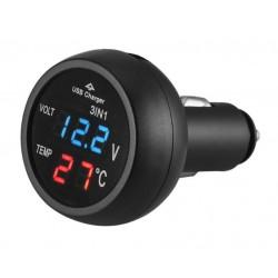 Incarcator Auto USB Techstar® cu Voltmetru si Termometru Digital LCD, Conectare la Bricheta 12/24V