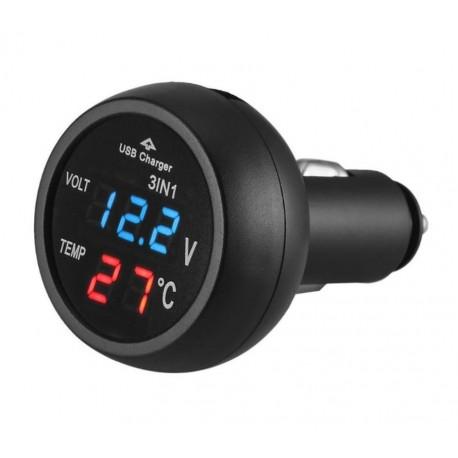 Incarcator USB Auto Techstar® cu Voltmetru si Termometru Digital LCD, Conectare la Bricheta