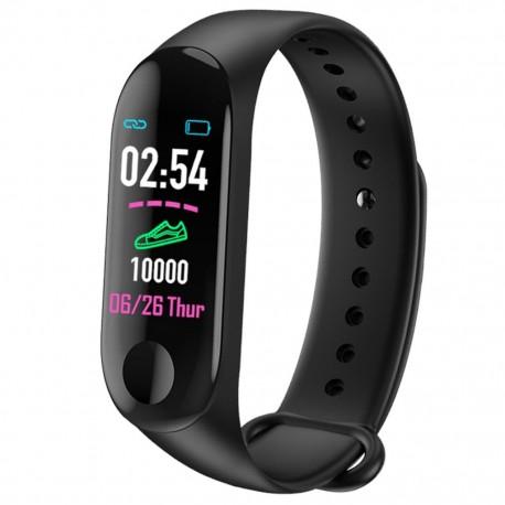 Bratara Smart Fitness Techstar®, Unisex, Monitorizarea Sangelui si Ritmului Cardiac, Pentru Android si iOS, Negru