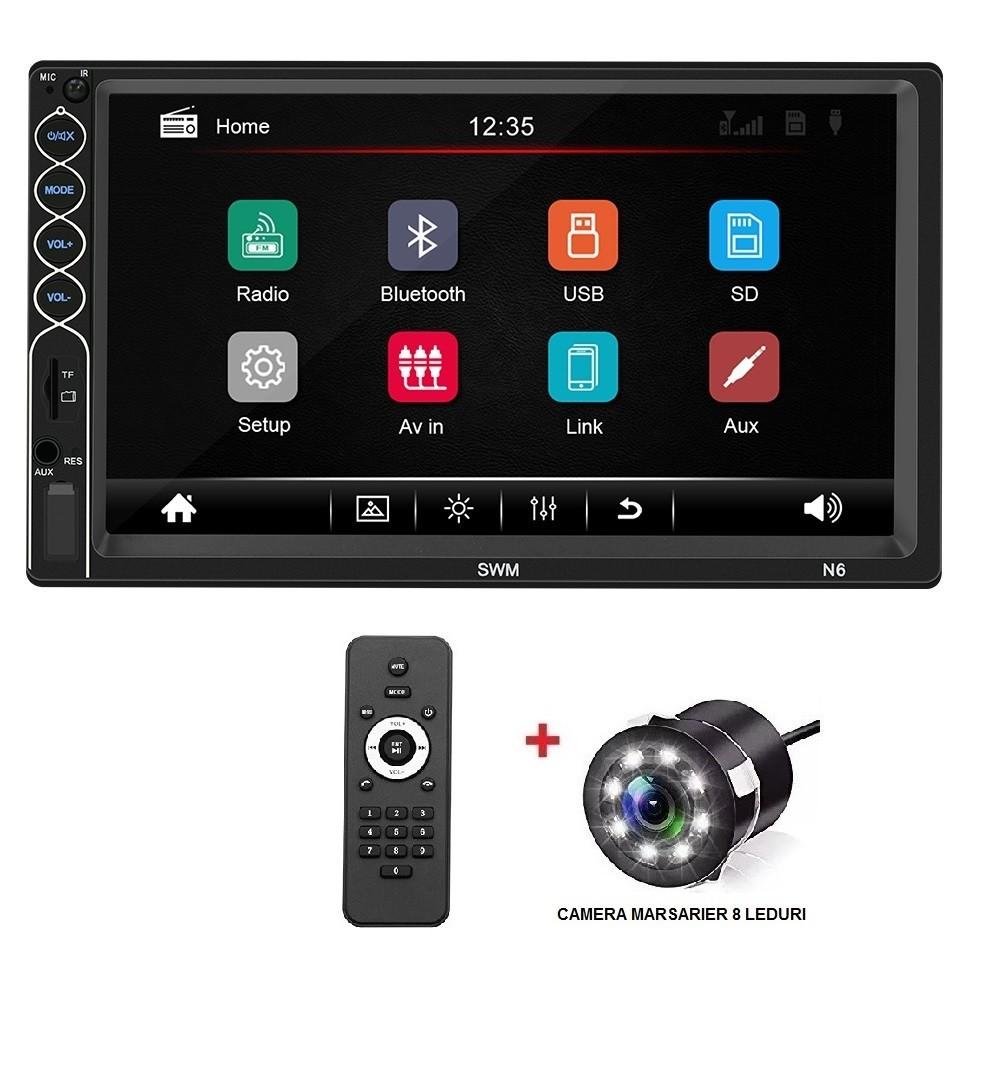 Radio Mp5 player auto SWM N6 2din universal Rama Camera Marsarier Bluetooth Navigatie MirrorLink imagine techstar.ro 2021