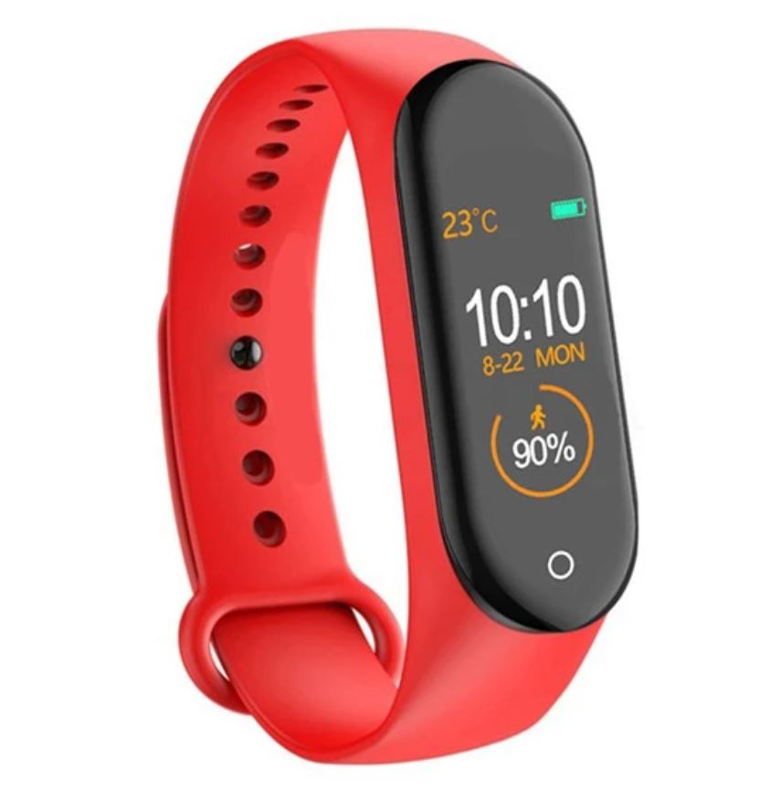 Bratara Sport M4 Techstar® Pentru Fitness, Monitorizarea Presiunii Sangelui si A Batailor Inimii, Rosu imagine techstar.ro 2021