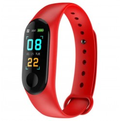 Bratara Smart Fitness Techstar® M3 Plus, Unisex, Monitorizarea Sangelui si Ritmului Cardiac, Pentru Android si iOS, Rosu