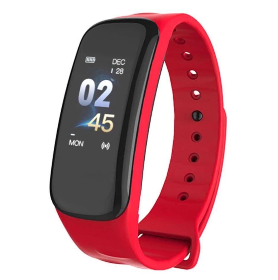 Bratara Smart Smartband Techstar® C1 Fitness, Waterproof IP65, BT4.0, OLED Color, Rosu