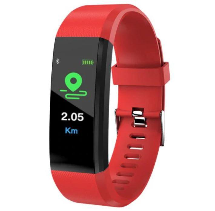 "Bratara Smart Fitness Techstar® ID115 Plus Fitness, 0,95"""" OLED, BT4.0, Waterproof IP65, Rosu imagine techstar.ro 2021"