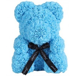 Ursulet floral Albastru decorat manual cu trandafiri de spuma 25 cm ideal pentru cadou