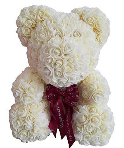 Ursulet floral Alb decorat manual cu trandafiri de spuma 25 cm ideal pentru cadou imagine techstar.ro 2021