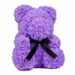 Ursulet floral violet decorat manual cu trandafiri de spuma 25 cm ideal pentru cadou