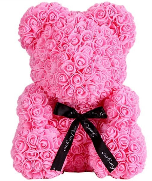 Ursulet floral roz decorat manual cu trandafiri de spuma 25 cm ideal pentru cadou