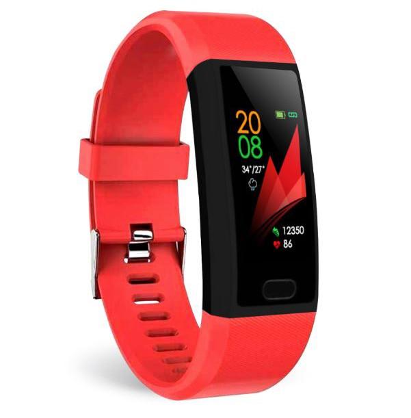 "Bratara Fitness Smartband Techstar® T12 Waterproof IP65, Bluetooth 4.2, Compatibila Android & iOS, Display TFT 1.14"""", Rosu imagine techstar.ro 2021"