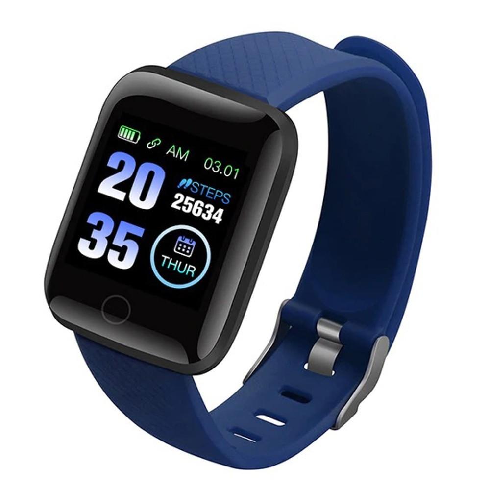 Bratara Fitness iUni 116 Plus, Bluetooth, Notificari, Pedometru, Monitorizare sedentarism, Puls, Blue imagine techstar.ro 2021