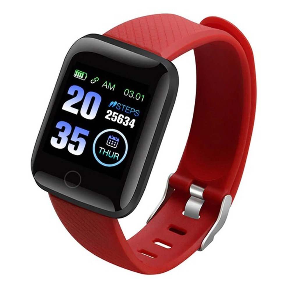 Bratara Fitness iUni 116 Plus, Bluetooth, Notificari, Pedometru, Monitorizare sedentarism, Puls, Red imagine techstar.ro 2021