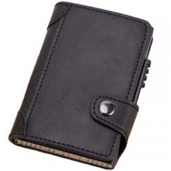 Portofel unisex, port card iUni P4, RFID, Compartiment 10 carduri, Negru