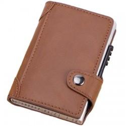 Portofel unisex, port card iUni P4, RFID, Compartiment 9 carduri, Maro