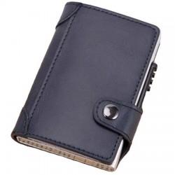 Portofel unisex, port card iUni P4, RFID, Compartiment 9 carduri, Bleumarin