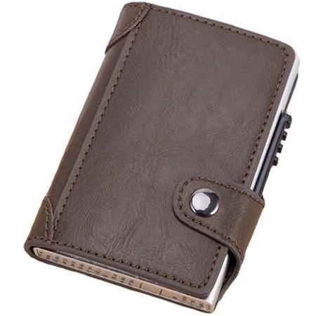 Portofel unisex, port card iUni P4, RFID, Compartiment 9 carduri, Brun inchis imagine techstar.ro 2021