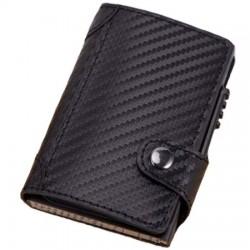 Portofel unisex, port card iUni P4, RFID, Compartiment 10 carduri, Print carbon
