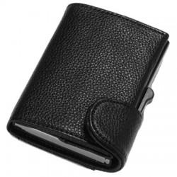 Portofel unisex, port card iUni P5, RFID, Compartimente 8 carduri, acte si bancnote, Negru