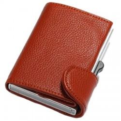 Portofel unisex, port card iUni P5, RFID, Compartimente 8 carduri, acte si bancnote, Maro
