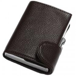 Portofel unisex, port card iUni P5, RFID, Compartimente 8 carduri, acte si bancnote, Brun inchis