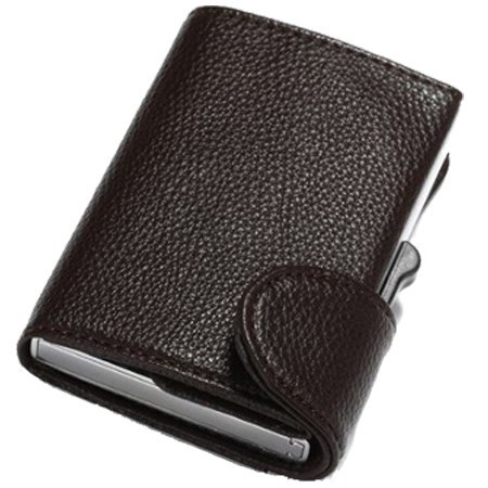Portofel unisex, port card iUni P5, RFID, Compartimente 9 carduri, acte si bancnote, Brun inchis imagine techstar.ro 2021