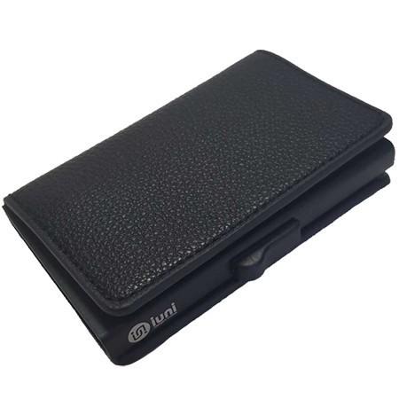 Portofel unisex, port card iUni P6, RFID, Compartiment 9 carduri, Negru imagine techstar.ro 2021