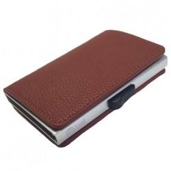 Portofel unisex, port card iUni P6, RFID, Compartiment 12 carduri, Maro