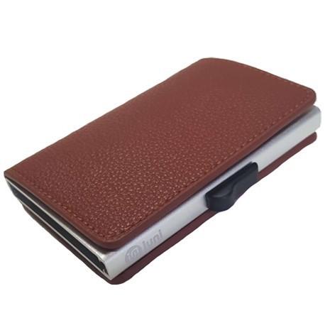 Portofel unisex, port card iUni P6, RFID, Compartiment 9 carduri, Maro imagine techstar.ro 2021