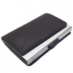 Portofel unisex, port card iUni P6, RFID, Compartiment 12 carduri, Brun inchis