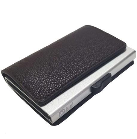 Portofel unisex, port card iUni P6, RFID, Compartiment 9 carduri, Brun inchis imagine techstar.ro 2021