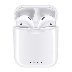 Casti Bluetooth Wireless i88 TWS Techstar®, Pentru Android si iOS, BT 5.0, Rezistente la apa, Alb