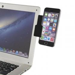 Suport telefon mobil cu prindere la marginea laptopului, negru