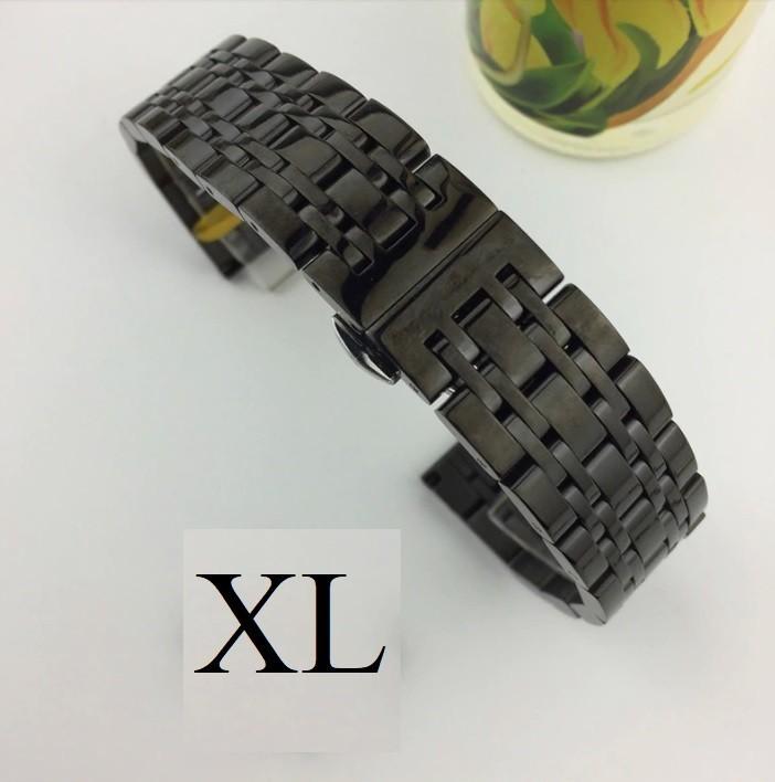 Bratara de ceas neagra din otel inoxidabil - 20mm 22mm - WZ3425