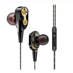Casti cu fir Techstar® Roreta Negru, Dual Drive, Microfon, Extra Bass, In ear, 3.5mm, Remote