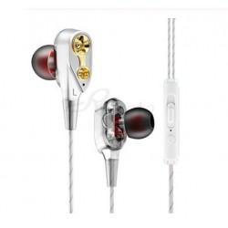 Casti cu fir Techstar® Roreta Albe, Dual Drive, Microfon, Extra Bass, In ear, 3.5mm, Remote