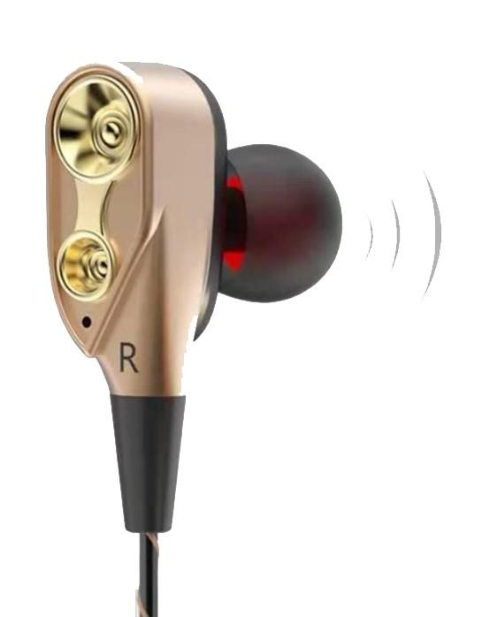 Casti cu fir Techstar® Roreta Aurii, Dual Drive, Microfon, Extra Bass, In ear, 3.5mm, Remote imagine techstar.ro 2021