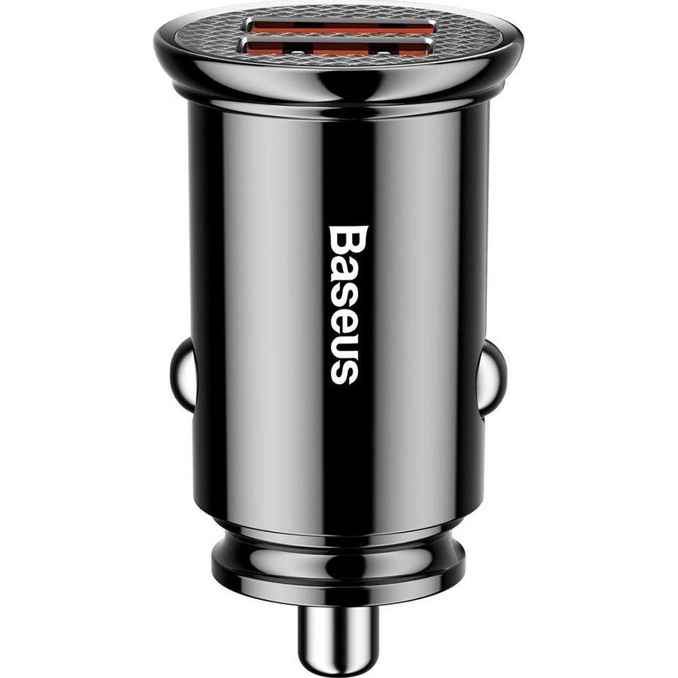 Incarcator Auto Premium Baseus Mini V3, Negru, Ultra Compact, Dual USB, 3,1A, 15,5W imagine techstar.ro 2021