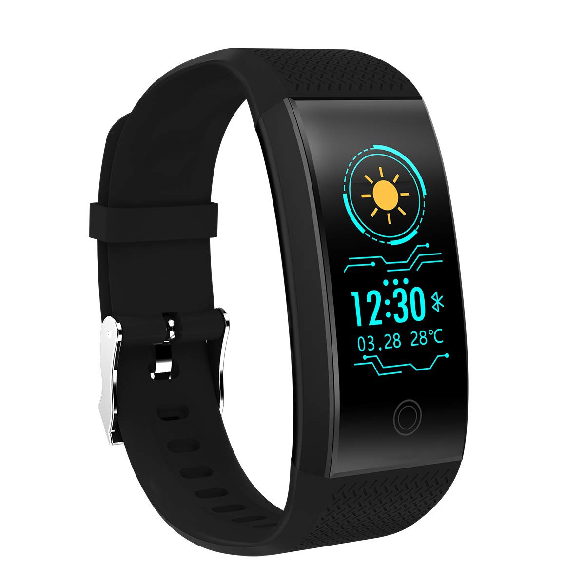 Bratara Fitness Smart Techstar® QW18 NEGRU, Monitorizare Cardiaca, Sedentary, Bluetooth, IP65, Ecran IPS