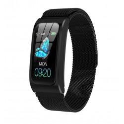 Bratara Smart Eleganta Techstar® AK12 NEGRU METALIC, Waterproof, Sport Smartwatch, Unisex, Monitorizare Somn si Cardiaca