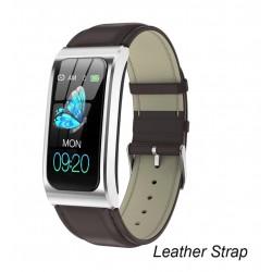 Bratara Smart Eleganta Techstar® AK12 ARGINTIU - PIELE, Waterproof, Unisex, Monitorizare Ovulatie, Somn si Cardiaca, IP68