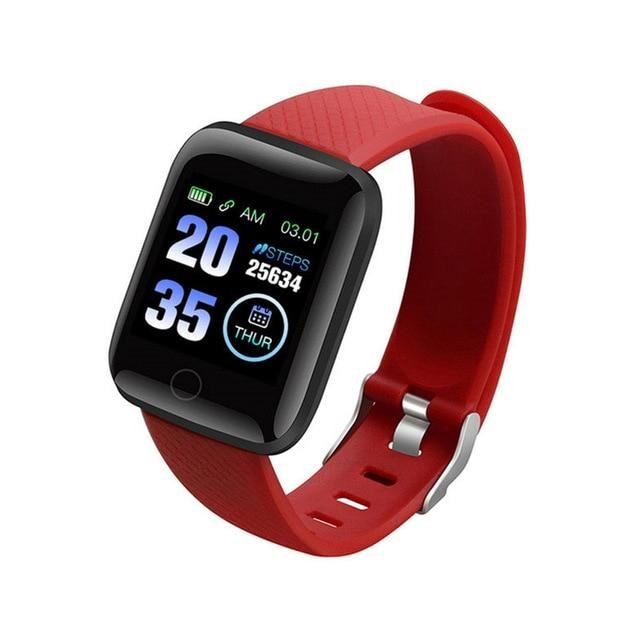 Ceas Smartwatch Techstar® D13 Rosu, Bluetooth 4.0, Compatibil Android & iOS, Unisex, Rezistent la Apa
