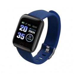 Ceas Smartwatch Techstar® D13 Albastru Inchis, Bluetooth 4.0, Compatibil Android & iOS, Unisex, Rezistent la Apa, Negru
