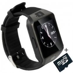 Smartwatch iUni DZ09 Plus, Camera 1.3MP, BT, 1.54 Inch, Negru + Card MicroSD 8GB Cadou