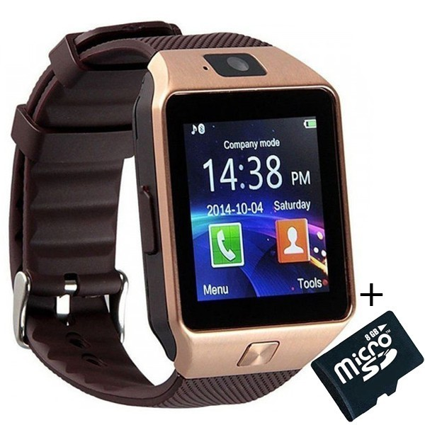 Smartwatch iUni DZ09 Plus, BT, Camera 1.3MP, 1.54 Inch, Auriu + Spinner Cadou