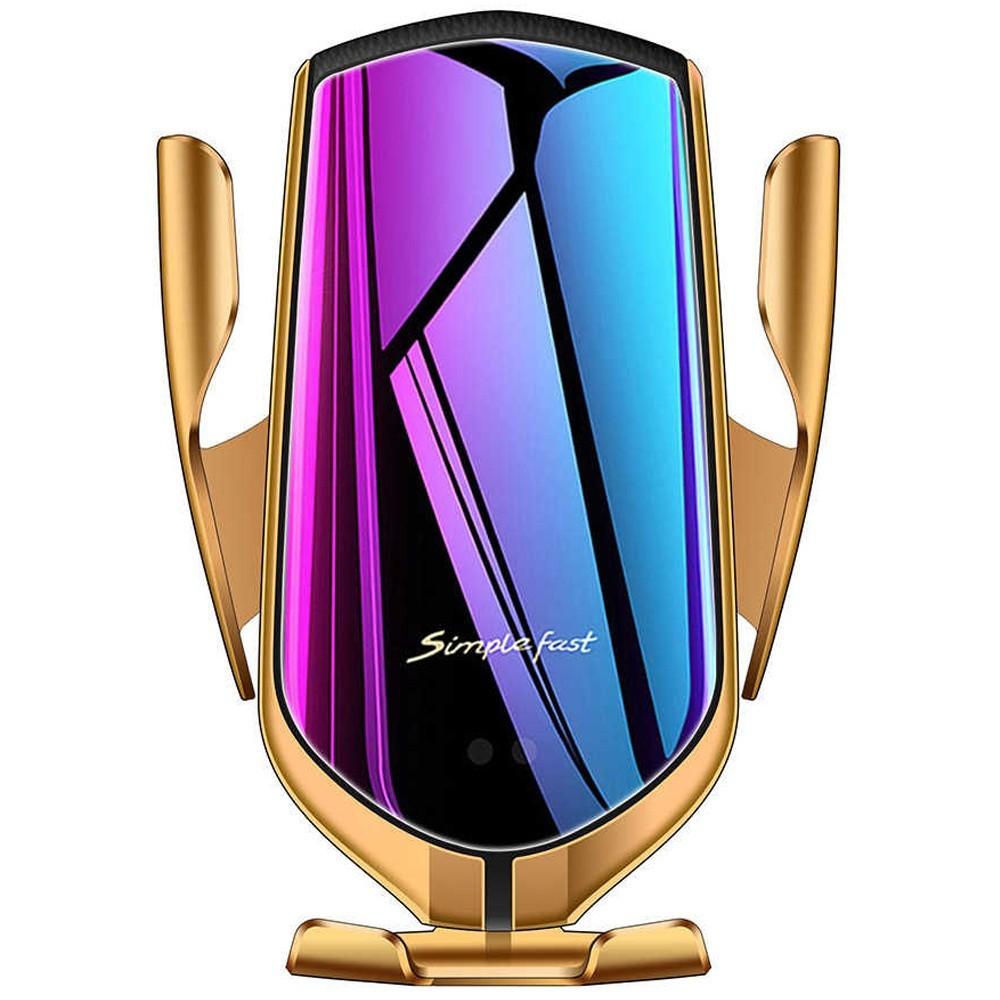 Suport Auto Cu Incarcator Wireless Iuni R1, Functie Localizare Gps, Micro Usb, Fast Charge, Gold