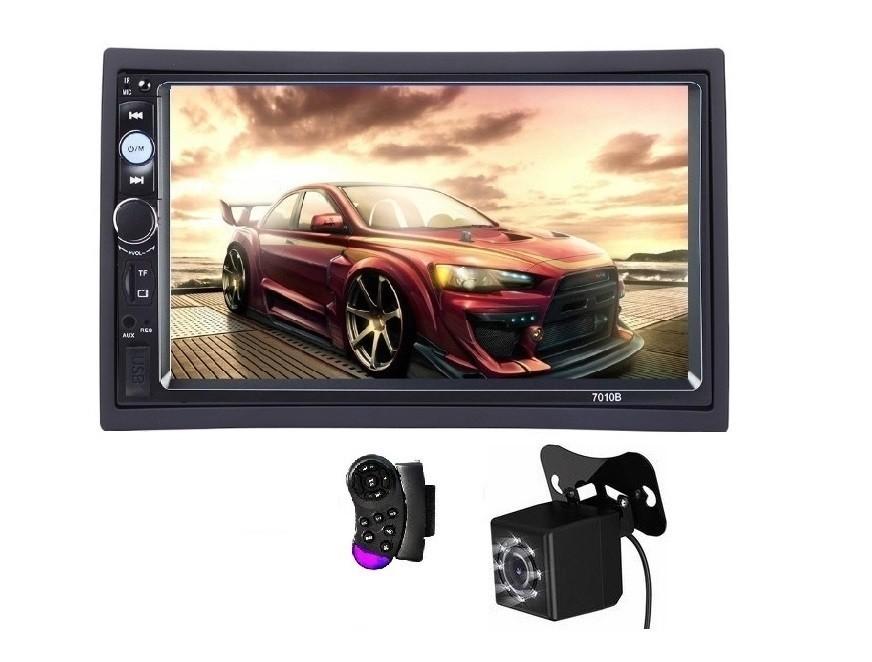 2Din, mp3/mp5 player auto universal 7010b, Navigatie MirrorLink, Rama, Camera patrata Telecomanda volan imagine techstar.ro 2021