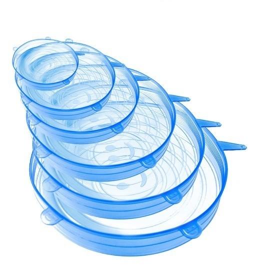 Set 6 capace din silicon pentru vase fara capac , extensibile, reutilizabile albastru transparent imagine techstar.ro 2021